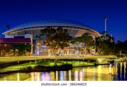 Adelaide, South Australia - January 18, 2015: View of Adelaide Oval and River Torrens Foot Bridge at night.