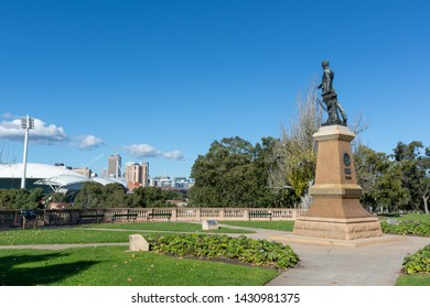 Adelaide, South Australia / Australia - June  22 2019: Light's Vision monument atop Montefiore hill. Created in 1938, Colonel William Light points across the Adelaide skyline.