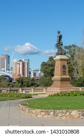Adelaide, South Australia / Australia - June  22 2019: Light's Vision monument atop Montefiore hill. Created in 1938, Colonel William Light points across the Adelaide skyline. Portrait orientation.