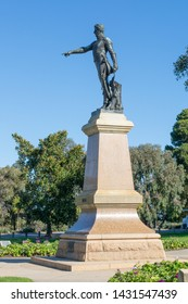 Adelaide, South Australia / Australia - June  22 2019: Light's Vision monument, Montefiore hill. Created in 1938, Colonel William Light points across the Adelaide skyline. North Adelaide.