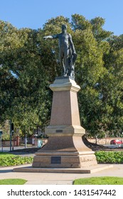 Adelaide, South Australia / Australia - June  22 2019: Light's Vision monument atop Montefiore hill. Created in 1938, Colonel William Light points across the Adelaide skyline. North Adelaide.