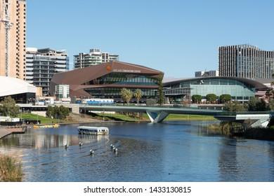 Adelaide, South Australia / Australia - June  22 2019: Adelaide Riverbank Precinct and city skyline. River Torrens, Adelaide, South Australia.