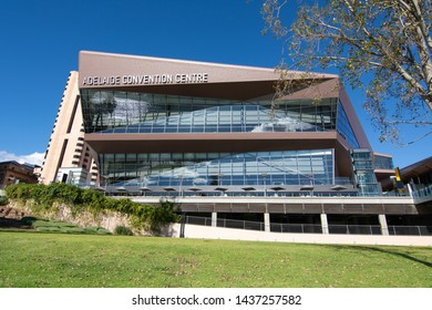 Adelaide, South Australia / Australia - June  22 2019: Adelaide Convention Centre as viewed from the Riverbank Promenade. Riverbank Precinct, river Torrens, Adelaide, South Australia.