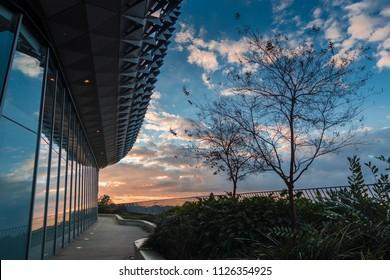 Adelaide, South Australia / Australia - June 24 2018: Rear of the SAHMRI Building at sunset