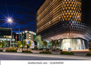 Adelaide, South Australia / Australia - June 24 2018: SAHMRI Building and Royal Adelaide hospital on North Terrace at Blue Hour
