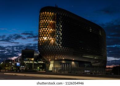 Adelaide, South Australia / Australia - June 24 2018: SAHMRI Building on North Terrace at Blue Hour