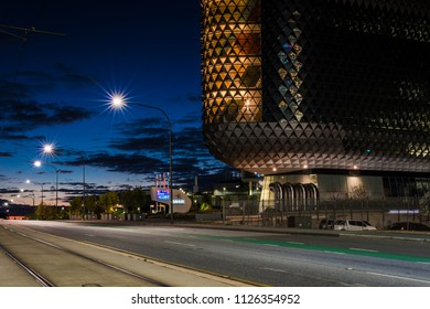 Adelaide, South Australia / Australia - June 24 2018: SAHMRI Building on North Terrace at Blue Hour