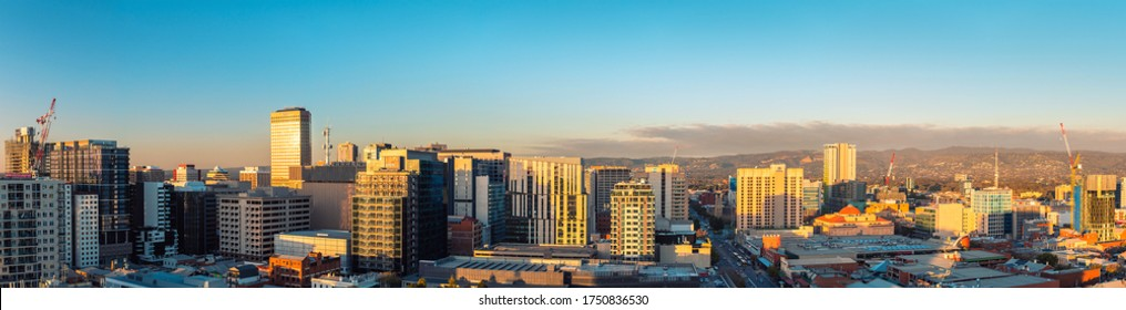 Adelaide, South Australia - June 5, 2020: Adelaide city business district rooftop skyline at sunset viewed towards east