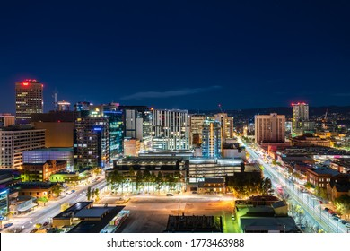 Adelaide, South Australia - June 5, 2020: Adelaide CBD skyline illuminated at night viewed towards east