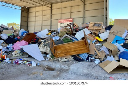 Adelaide, South Australia, March 8th 2021: pile of rubbish at waste and recycling depot.