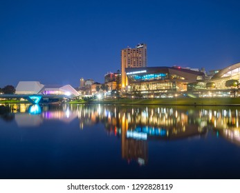 ADELAIDE, SOUTH AUSTRALIA - MAY 15, 2018: Adelaide city at night. CBD view from the northern side of the Torrens footbridge