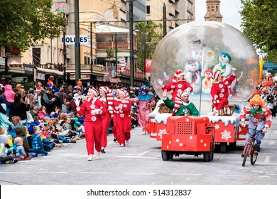 Adelaide, South Australia - November 12, 2016: More than 250.000 came to the city centre to see 172 colourful sets of floats, bands, dancers, clowns and Father Christmas.