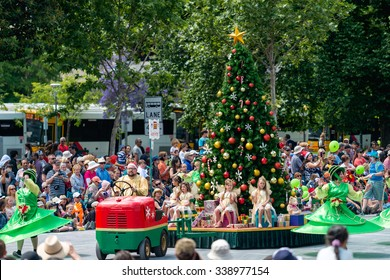 Adelaide, South Australia - November 14, 2015: Christmas Tree float with kids at the Credit Union Christmas Pageant 2015.