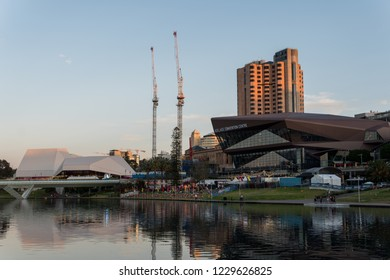 Adelaide, South Australia - October 31, 2018: Oz Asia Festival on the banks of the torrens river in Adelaide at sunset