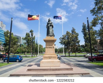ADELAIDE, SOUTH AUSTRALIA. - On November 06, 2018. – Statue of Queen Victoria, erected in the centre of the square in 1894 at Victoria Square in the South Australian capital of Adelaide.