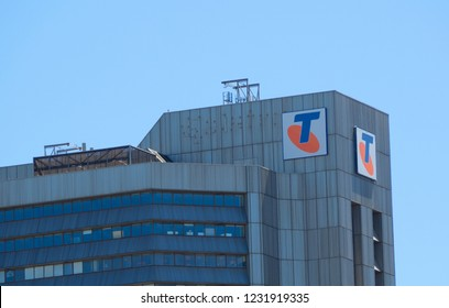 ADELAIDE, SOUTH AUSTRALIA. - On November 17, 2018. – The facade building of Telstra Corporation Limited is Australia's largest telecommunications company which builds and operates mobile internet.