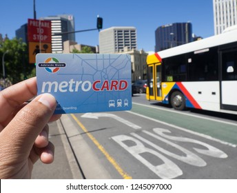 ADELAIDE, SOUTH AUSTRALIA. - On November 30, 2018. – Metro card is a contactless smartcard ticketing system for public transport services in the greater Adelaide area.