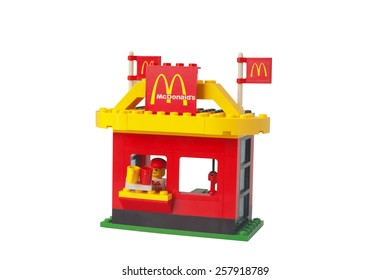 ADELAIDE,AUSTRALIA - February 26 2015: A Studio shot of a vintage McDonalds Drive Thru Lego Kit. Lego is extremely popular worldwide with children and collectors.