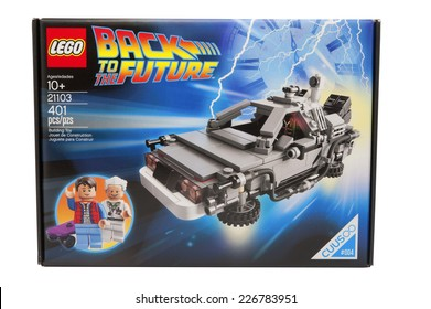 ADELAIDE,AUSTRALIA - October 27 2014: A studio shot of a Back to the Future Lego Kit. Lego is extremely popular with children and collectors worldwide.