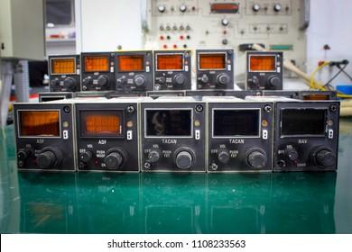 ADF control unit ,NAV control unit and TACAN control unit ,Avionics equipment in aircraft with maintenance.
