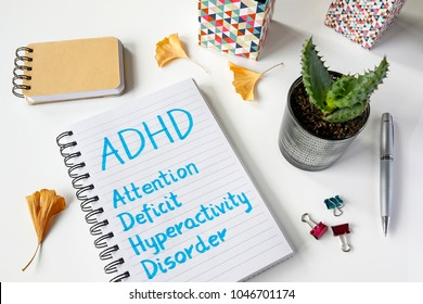 ADHD Attention Deficit Hyperactivity Disorder written in noteboo