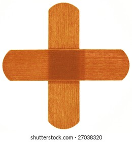 Adhesive bandages arranged in a cross figure on a white background.