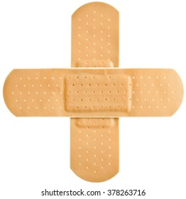 Adhesive first-aid bandage in cross shape