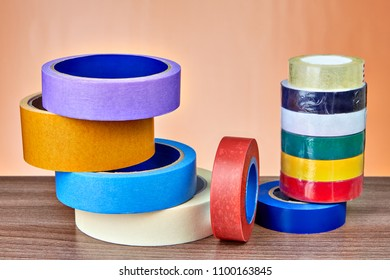 Adhesive tape in range, set of masking tape and electrical tape in various colors.