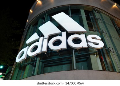 Adidas logo sign brand on building at Ximending, Taipei, Taiwan. 2 August 2019