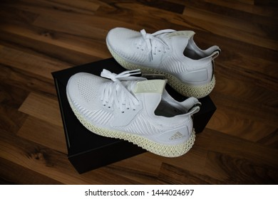 Adidas shoes Alphaedge 4D in white and yellow released on May 31 2019.