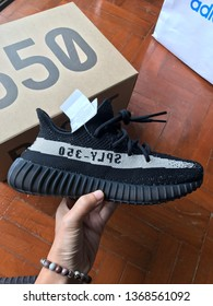 "ADIDAS YEEZY BOOST 350 V2 Oreo BY1604 BLACK WHITE Size 5 UK, Thailand tag. This sneaker shoes release in 2016. Design by Kanye West ""SPLY-350""  Designer Style ID: BY1604 Colour: CBLACK/CWHITE/CBLA"
