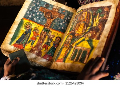 Adigrat / Ethiopia - November 15 2005: Close up of hand painted pictures in a goat skin bible.