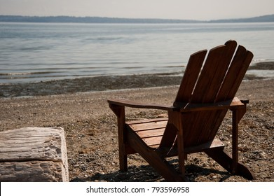 Adirondack chair on Bainbridge Island beach