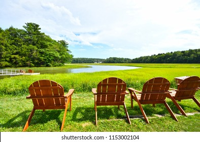 Adirondack Chairs by the River Yarmouth Maine