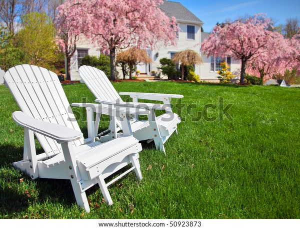 Prime Adirondack Chairs Sitting On Grass Front Stock Photo Edit Download Free Architecture Designs Embacsunscenecom