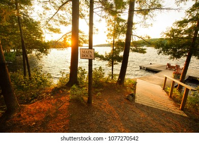 Adirondack chairs sitting on a wooden dock at sunset. Hanging on a tree there's a sign indicating the main dock