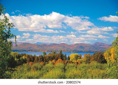 Adirondack mountains shot from Vermont across Lake Champlain