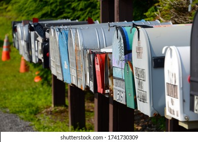 Adirondack, New York, 07/13/2015 row of typical american mailboxes