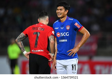 Adisak Kraisorn (Blue) of SCG Muangthong United in action during The Football Thai League between Bangkok United and SCG Muangthong United at True Stadium on March 02,2019 in Pathum Thani, Thailand