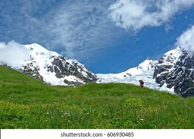 Adishi glacier. Caucasus mountains. Svaneti region. Georgia. Europe - Shutterstock ID 606930485