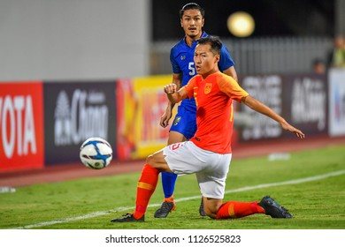 Adisorn Promrak No.5(blue) of Thailand in action during 2018The International Friendly Match between Thailand and China at the Rajamangala Stadium on June 2, 2018 in Bangkok,Thailand,