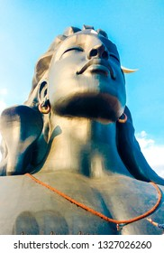 The Adiyogi statue is a 34.3-metre-tall excluding plinth, 45-metre-long and 7.62-metre-wide statue of the Hindu deity Shiva with white Thirunamam at Coimbatore in the Indian state of Tamil Nadu.