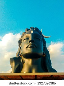 The Adiyogi statue is a 34.3-metre-tall excluding plinth, 45-metre-long and 7.62-metre-wide statue of the Hindu deity Shiva with white Thirunamam at Coimbatore , Mahashivratri  festival in india.