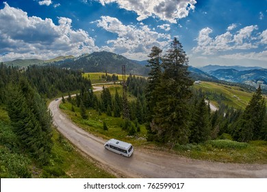 ADJARA, GEORGIA - 08 AUGUST 2017: Touristic minibus in remote mountains of Georgia