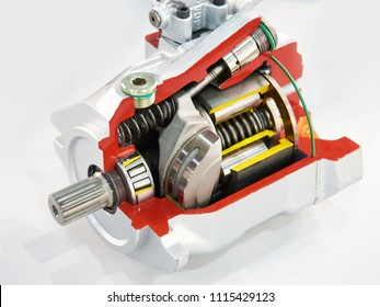 Adjustable axial piston pump of open contour in section