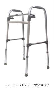 Adjustable folding walker for elderly, disabled or injured isolated on white