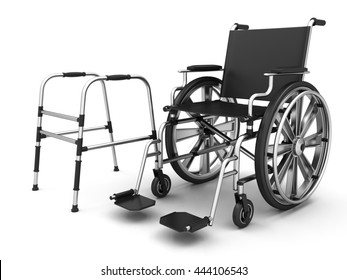 Adjustable folding walkers for the elderly and wheel chair on a white background. 3D illustration