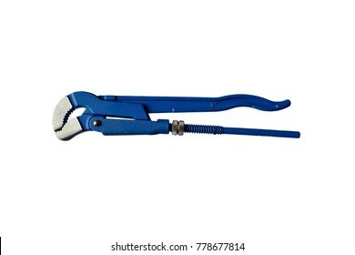 Adjustable pipe wrench, pliers, spanner or plumbing tool isolated on white background.