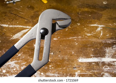 Adjustable wrench on white