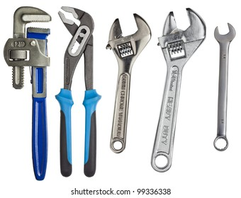 Adjustable wrenches, spanners isolated on white.
